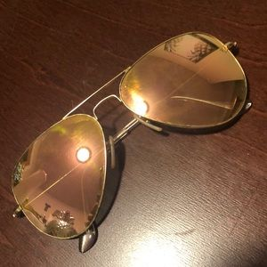 Ray Ban Pink/Rose Gold Aviator Sunglasses